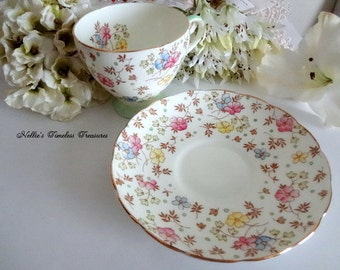 Tea Cup EB Foley Floral Chintz Fine Bone China Tea Cup and Saucer Pink Blue Yellow Flower English Antique Tea Cup Replacement China V2398
