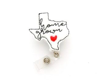 Texas Retractable Badge Reel - RN Badge Reel - Texas Shape Badge Reel