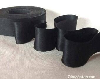 Ebony Black Hand Dyed Silk Ribbon-2 yard increments