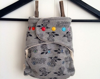 fitted diaper - OS cloth diaper IN STOCK - robot universe - organic hemp and bamboo fitted one size cloth diaper gray and black
