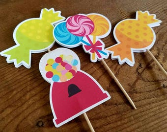 Sweet Shop Party -  Set of 12 Double Sided Assorted Sweet Shop Cupcake Toppers by The Birthday House