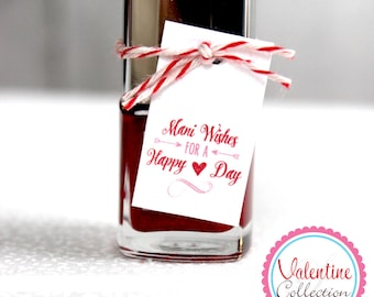 Valentine Nail Polish Tags, Valentine's Day Nail Polish Tags, Valentine's Day, Instant Download, DIY