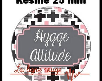 Round cabochon resin 25 mm - hygge attitude stick (2128) - text, Word, zen