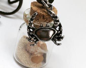 Treasure bottle charm, seashell bottle necklace, tropical treasure necklace, sinver crab charm