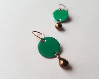 Emerald Green Dangle Earrings with Bronze Glass Teardrops - Enamel on Copper Jewelry - Birthday Gift for her