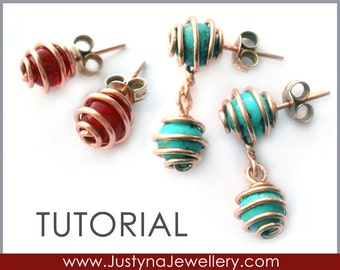 Wire Jewelry Tutorial, Stud Earrings Tutorial, Post Earrings Tutorial, Cage Jewelry, Posts, Studs, CageTutorial, Caged Stone, Cage Pattern