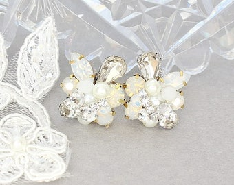 Bridal Cluster Earrings- Art Deco Bridal Earrings- White Opal Earrings- Rhinestone Wedding Earrings- Vintage Inspired Studs- Clip Earrings