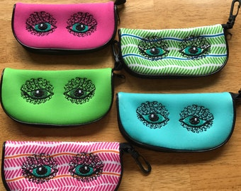 Sunglasses case, Eyeglasses case, Fashion Cases, Eye wear Accessories, Sunglasses Sleeve, Embroidered Pouch, Embroidery Eyes