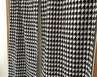 Black and white houndstooth curtain  panels choose size