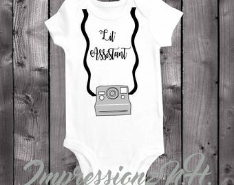 Lil' Assistant onesie and bodysuit - Photography onesie and bodysuit Camera onesie and bodysuit, Assistant shirt