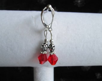 Red Crystal and Sterling Silver Earrings