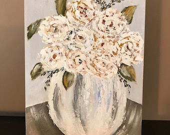 SOLD-White Blooms Floral 12x14 Acrylic Painting Gallery Wrapped Canvas