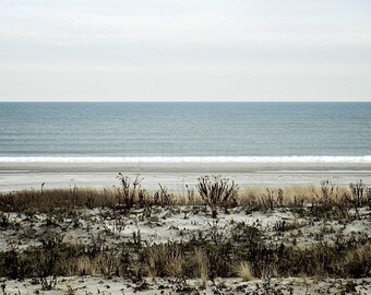 Beach Photography, Winter Beach Art,Blue Ocean Art,Coastal Wall Art Beach,Sand Dunes Nature Photography,Jersey Shore Beach Print,Ocean Print