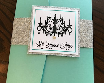 Chandelier theme quinceañera sweet sixteen turquoise invitation