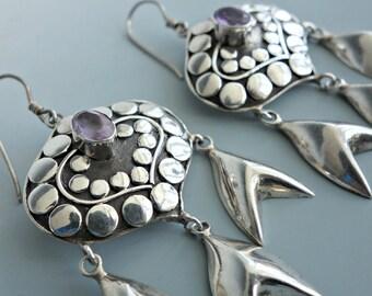 Bali Sterling Amethyst Earrings