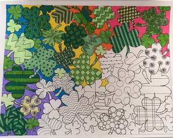 Clover Collage Adult coloring page - hand drawn digital download - Adult coloring by Holly