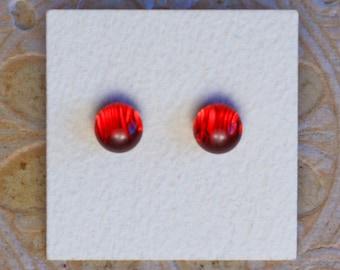 Dichroic Glass Earrings, Red  DGE-1199