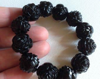Bracelet  - black roses plastic bracelet design