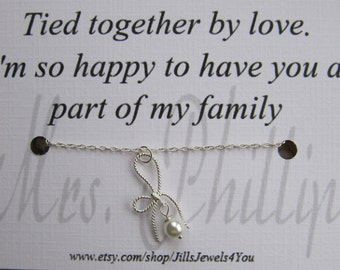 Wedding Bow Charm Necklace with Mother of the Groom Quote Inspirational Card- Step Daughter Gift - tied together by love - Personalized Gift