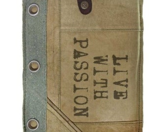 Live with Passion Recycled Military Tent Canvas IPad Notebook Kindle Sleeve Case