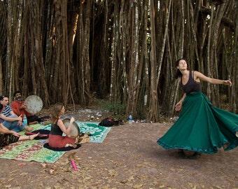 Green Whirling Skirt, Sufi Skirt, Skirt for Whirling