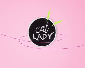 Cat lady Patch. Iron On - Appliques.