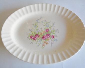 Vintage Oval Floral Serving Platter  Edwin M Knowles semi vitreous