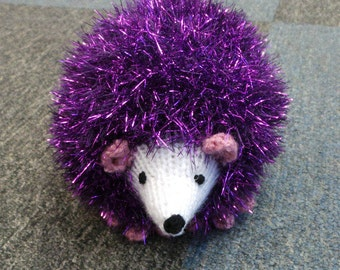 Hand Knitted Hedgehog in Sparkly Bright Purple Tinsel Wool 16cm Long