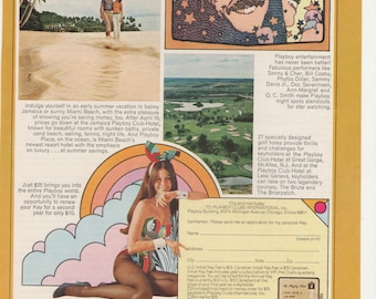1972 Advertisement Playboy Club Hotels featuring Sonny and Cher Wall Art Decor Illlustrated Celebrity