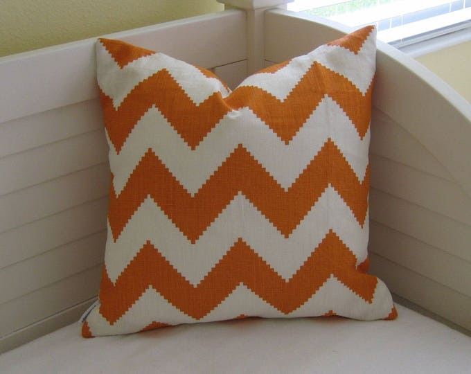 Jonathan Adler Kravet Limitless in Persimmon Orange and White Chevron on Both Sides Designer Pillow Cover - Square, Lumbar and Euro