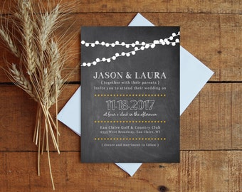Chalkboard Wedding Invitation, Wedding Invite, Wedding Invitation Set, Lights Wedding, Printable Invitation