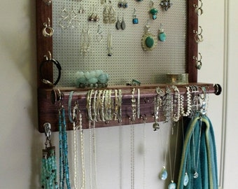 ON SALE Jewelry Organizer with Bracelet Bar, Stained Wall Mounted Jewelry Organizer and