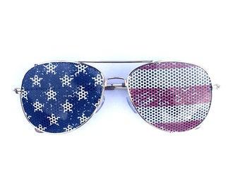 American Flag Stars & Stripes Graphic Aviator Festival Sunglasses