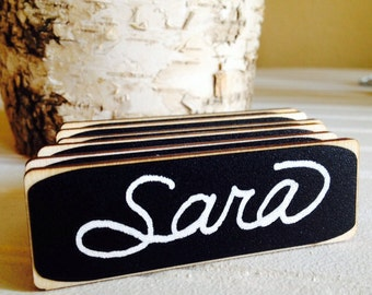 50 Rectangle Chalkboard Name Tags, Magnetic or Pin Name Badges, Reusable,--Perfect for Office Parties, Meeting, and Corporate Events