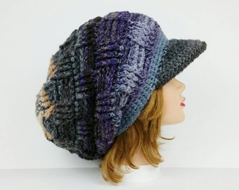 Crochet Newsboy Hat, Visor Beanie, Crochet Hat, Women's Hat, Beanie Hat With Brim, Sun Visor Hat, Slouchy Hats For Women, Newsboy Cap