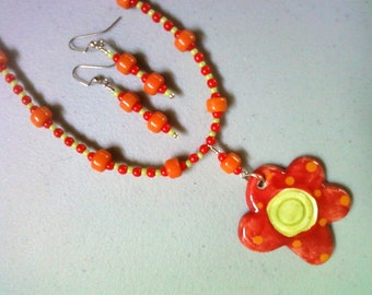 Red, Orange and Lime Green Flower Necklace and Earrings (0244)