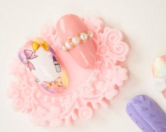 Pastel Gradient Bow Nails, kawaii, lolita nails, press on nails, acrylic nail, Harajuku nail