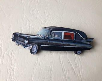 Funeral car wooden hearse brooch