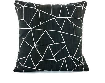 Black Decorative Throw Pillow Cover Black Ink Couch Sofa Decorative Pillow Cushion Bedding Pillows Various Sizes Black White Slub Canvas