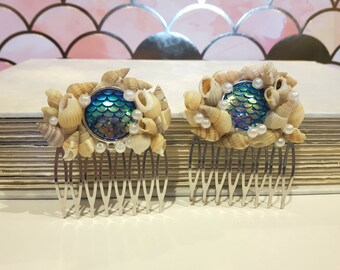 Blue Mermaid Scale Hair Combs