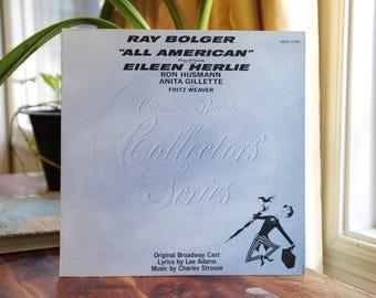 All American Record, Vintage LP Album, 1973 Columbia Records Collectors' Series, Original Broadway Cast Musical Comedy Soundtrack Gift