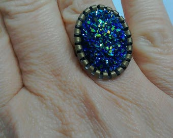 Blue resin druzy/ druzy ring / bronze ring / faux druzy / statement ring / glitter ring / large ring / adjustable ring / Blue ring /