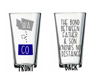 Father Son Long Distance States Beer Pint Tumbler Pub Glass Father's Day Gift