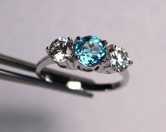 Stunning Swiss Blue Topaz Round in an Accented Sterling Silver Ring