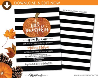 Little Pumpkin Baby Shower Invitation • Fall Autumn A Little Pumpkin Is On The Way Baby Shower Invite • DIY Edit Yourself BS-F-02