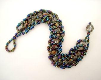Rainbow Crystal Beaded Bracelet colorful jewel tone and Czech glass crystal hand beaded flat spiral bracelet