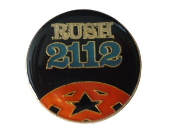 vintage RUSH 2112 heavy metal pin badge button progressive rock starman geddy lee