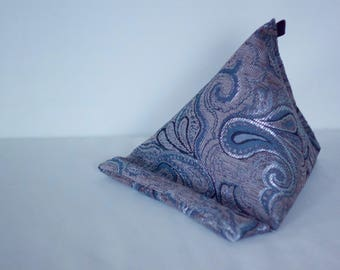 Cell phone stand, e book stand, small pillow, pillow book stand, small cushion, tablet cushion, book cushion, iPad Beanie, grey pillow