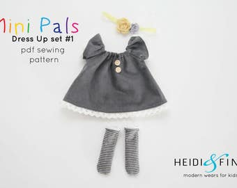 Mini Pals DRESS UP set #1 soft rag doll sewing pattern toy softie stuffed doll dress pants socks hat