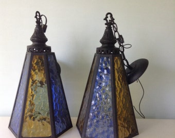 1970s Mid Century Pendant Lights with Blue And Canary Yellow Textured Stain Glass